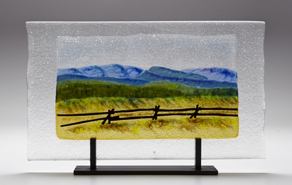 "Colorado Fences © 2012; Fused Glass; 9 1/2 "" X 16"" X 3 ½""; Not for Sale (NFS)"