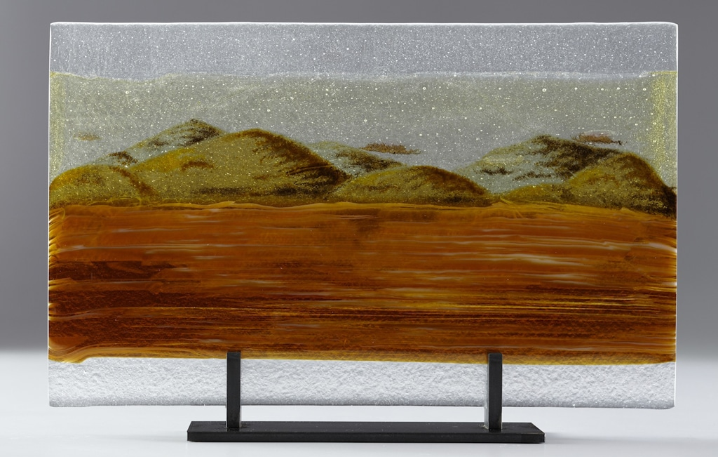 "California Hills in Autumn © 2012; Fused Glass; 10 ½"" X 17"" X 3 ½"";"