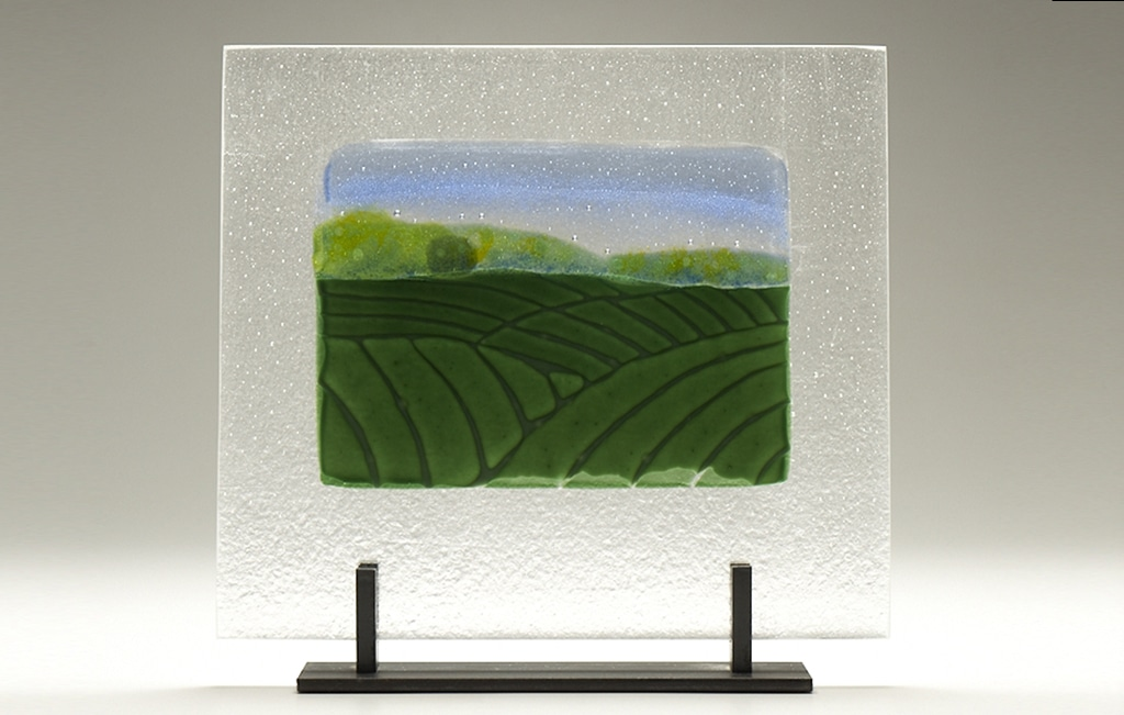 "Iowa Farm Hills © 2010; Fused Glass; 12 ¾"" X 11 ¼"" X 4""; $750"