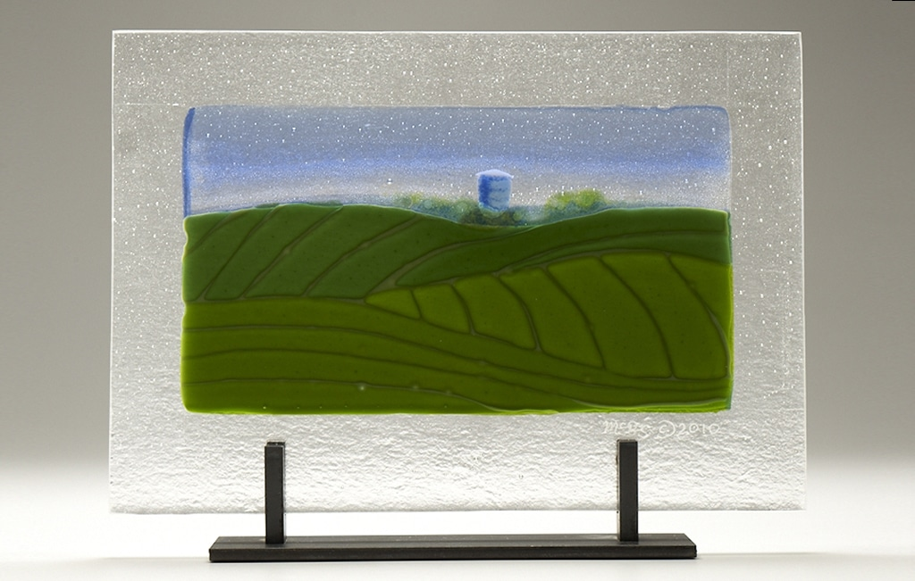 "Iowa Farm Silo © 2010; Fused Glass; 14"" X 9 ¾"" X 4""; $750"