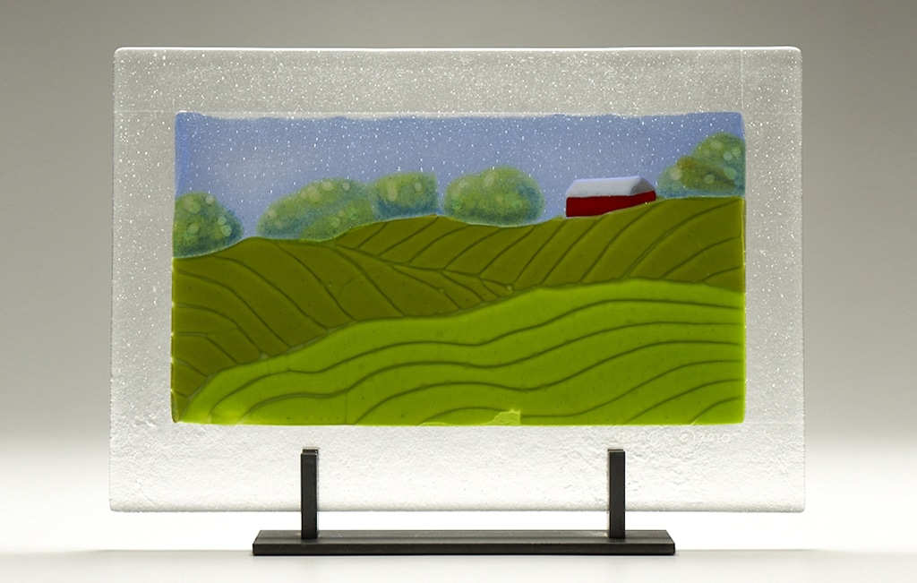 "Iowa Farm with Barn © 2010; Fused Glass; 16"" X 11"" X 4"""