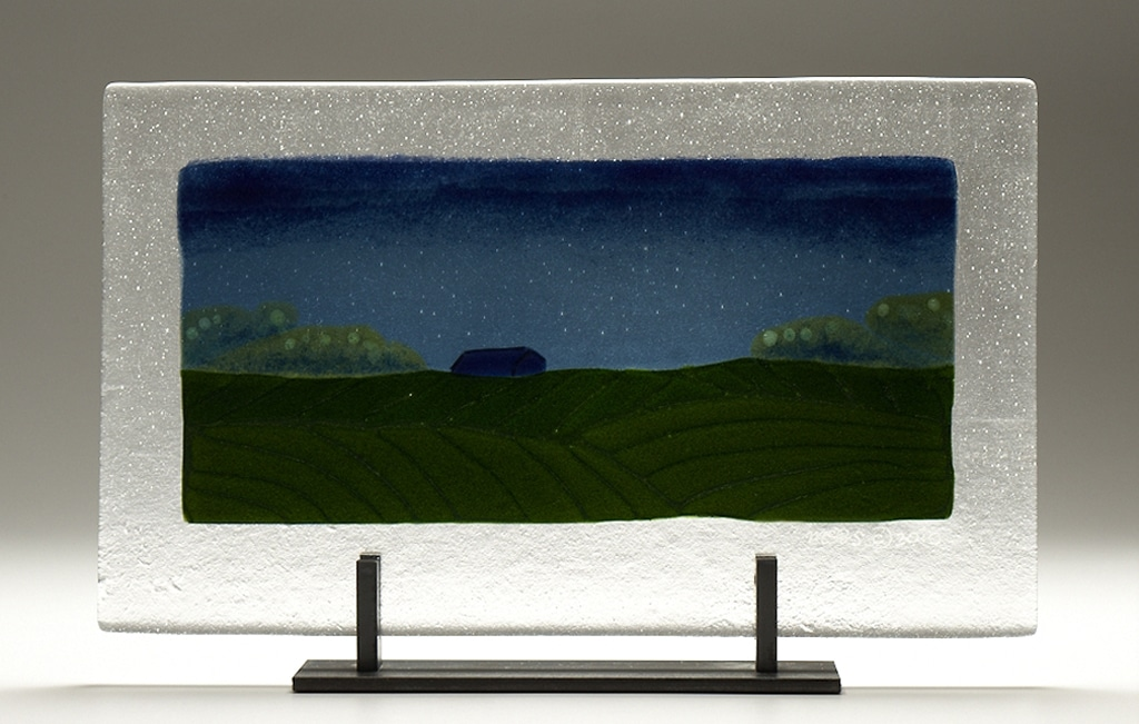 "Iowa Night Barn © 2010; Fused Glass; 16 ½"" X 10"" X 4"""