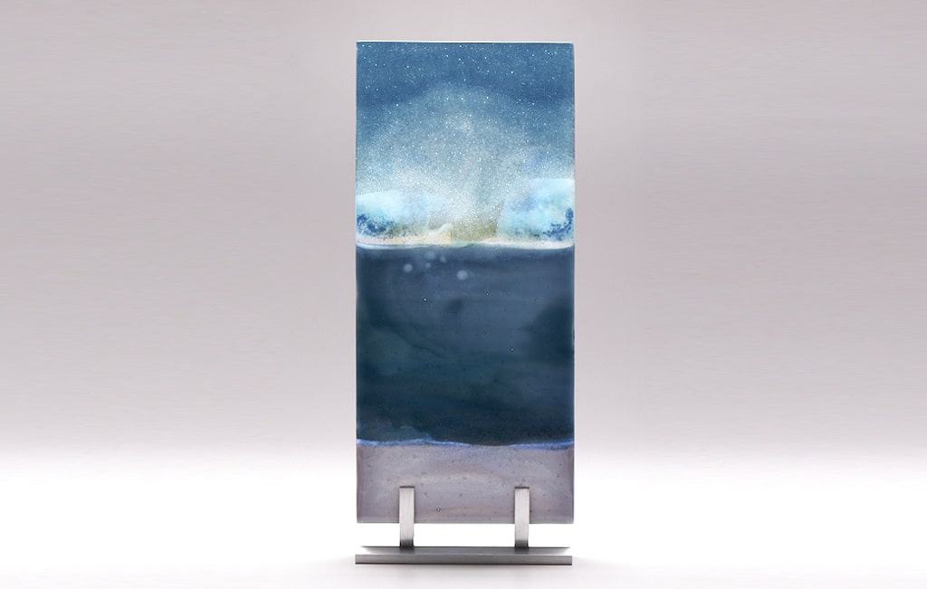 "Lake Superior Dawn Cloudy Sea © 2010; Fused Glass; 5 ¾"" X 12 ¾"" X 3 ½"""