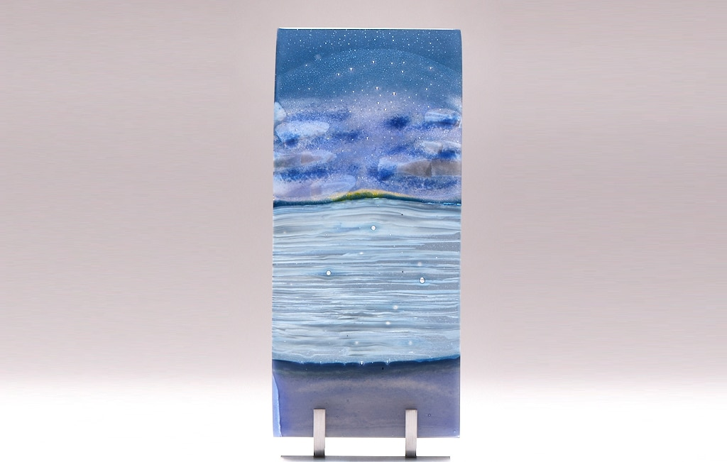 "Lake Superior Dawn with Clouds © 2010; Fused Glass; 6 ¼"" X 13 ½"" X 3 ½"""