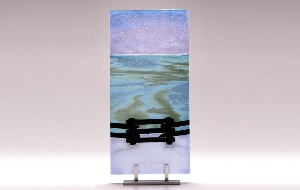 "Lake Superior Dawn with Fence © 2010; Fused Glass; 8"" X 16 ¾"" X 3 ½"""