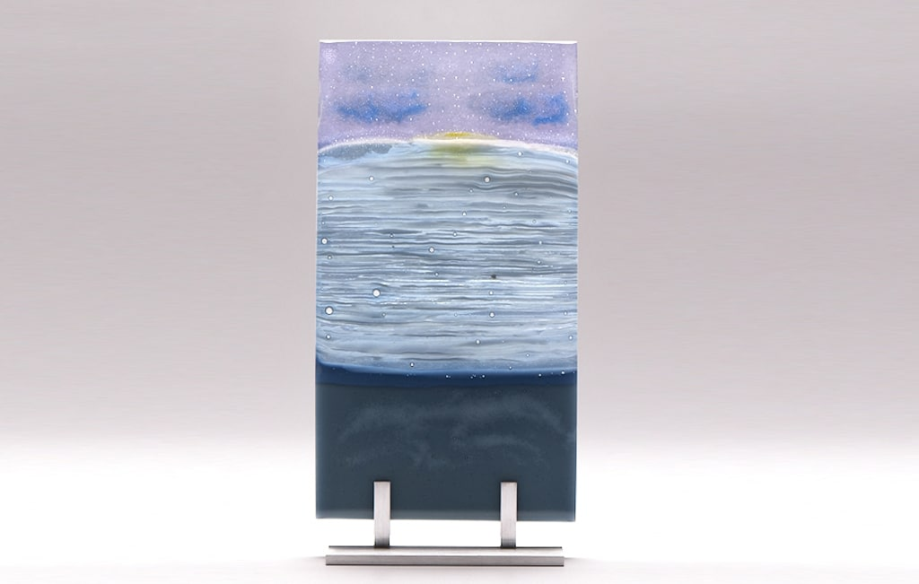 "Lake Superior Dawn in Yellow © 2010; Fused Glass; 6 ¼"" X 11 ½"" X 3 ½"""