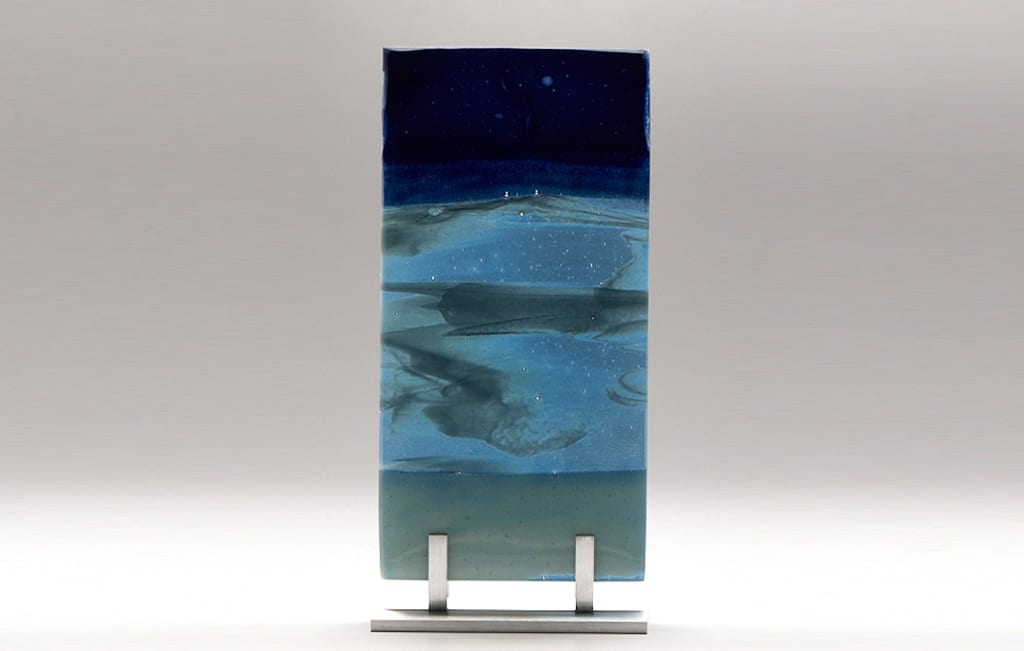 "Lake Superior Night II © 2010; Fused Glass; 5 ½"" X 11"" X 3 ½"""