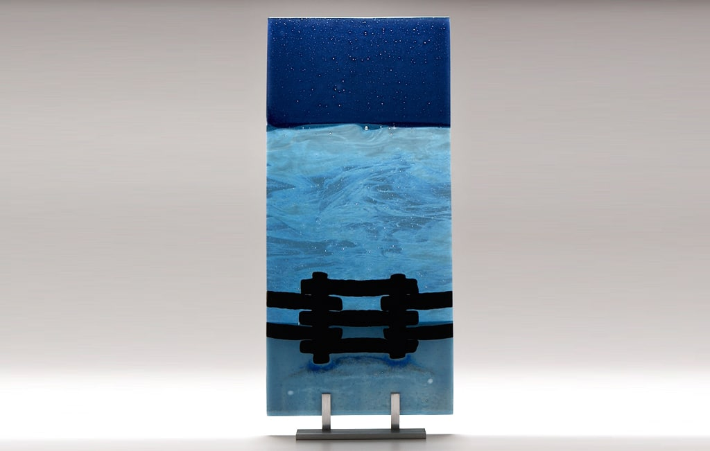 "Lake Superior Night with Fence © 2010; Fused Glass; 8"" X 17 ½"" X 3 ½"""