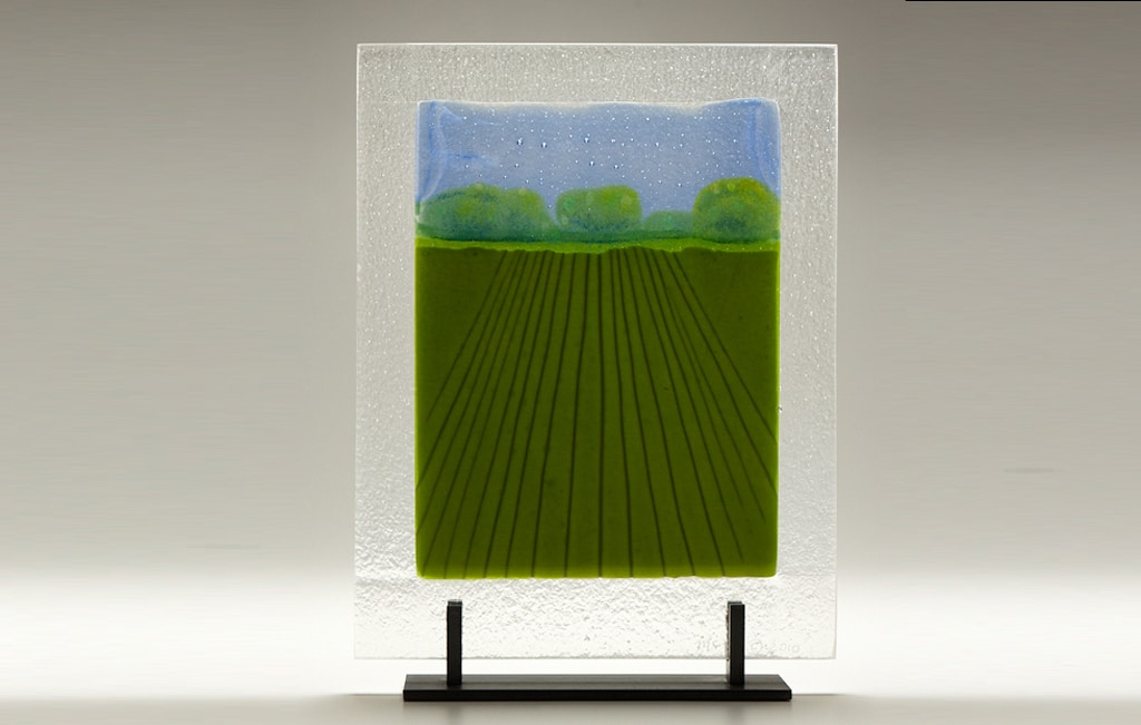 "Straight-On Iowa Farm (large) © 2010; Fused Glass; 12"" X 15 ½"" X 4"""