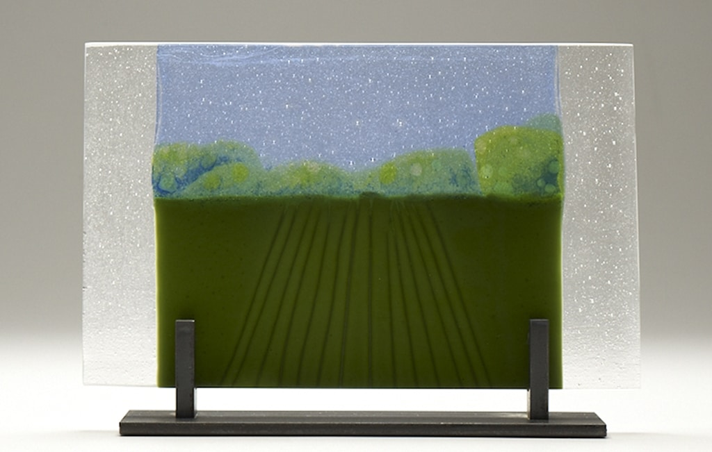 "Straight-On Iowa Farm (small) © 2010; Fused Glass; 11 ¼"" X 7"" X 4"""