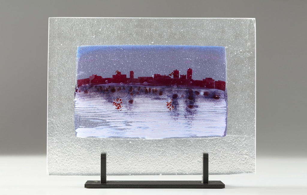 "Des Moines River Citiscape (Neo) © 2012; Fused Glass; 11"" X 14 ¼"" X 3 ½"";"