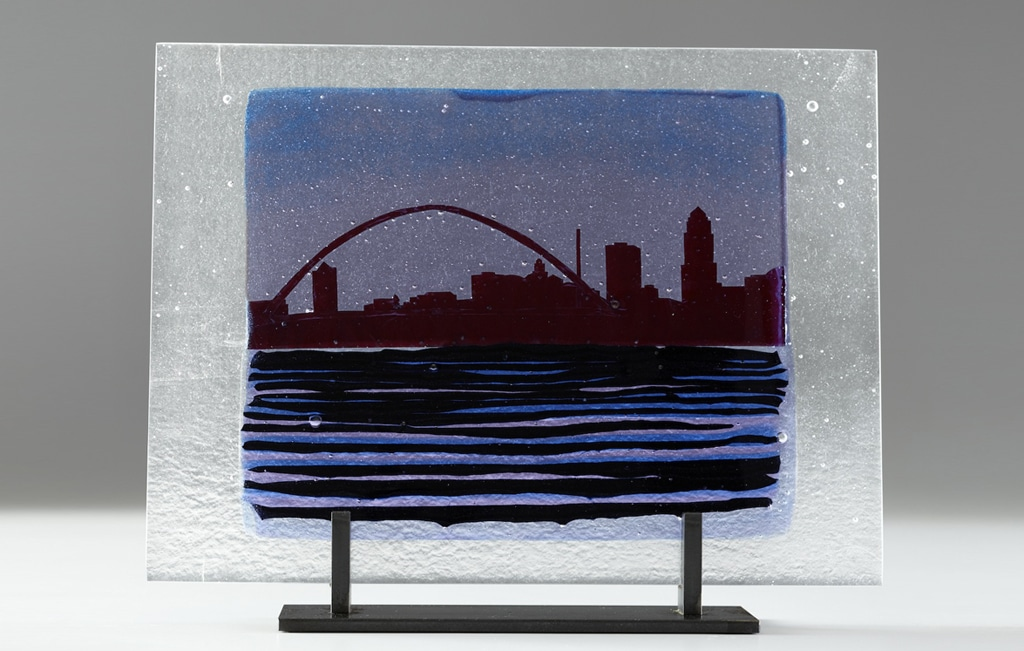 "Des Moines Citiscape from Pagoda (Adv Blue) © 2012; Fused Glass; 11"" X 15"" X 3 ½"";"