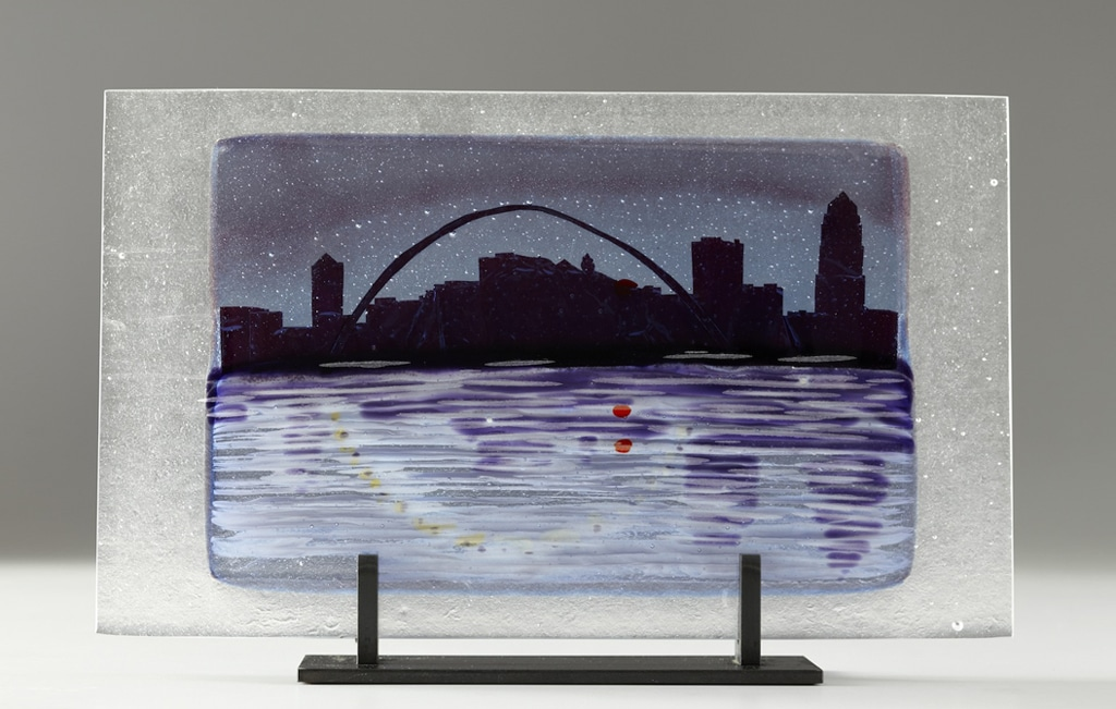 "Des Moines Citiscape from Pagoda (Cut Purple) © 2012; Fused Glass; 10 ½"" X 17"" X 3 ½"";"