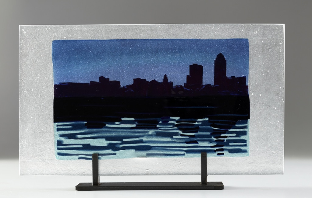 "Citiscape with Blue Reflection © 2012; Fused Glass; 10"" X 17 ½ "" X 3 ½""; NFS"