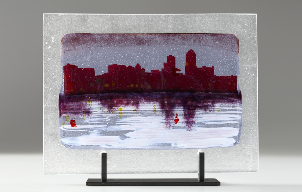 "Large Scale Des Moines River Citiscape (Neo) © 2012; Fused Glass; 12"" X 15 ¾ "" X 3 ½"";"