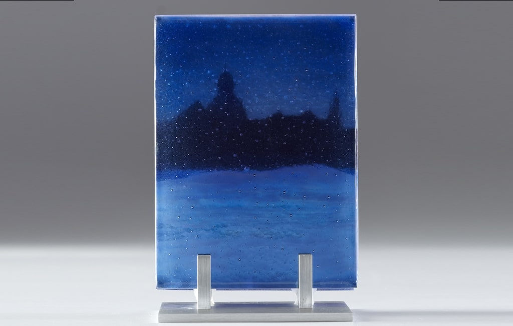 "Three-layer Citiscape © 2012; Fused Glass; 3 pieces @ 6 "" X 8 "" X 3 ½""; NFS"