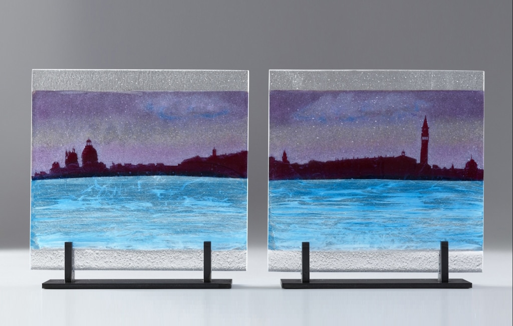 "Venice Citiscape St Pietro © 2012; Fused Glass; 8 ¼ "" X 11 ¼ "" X 3 ½"";"