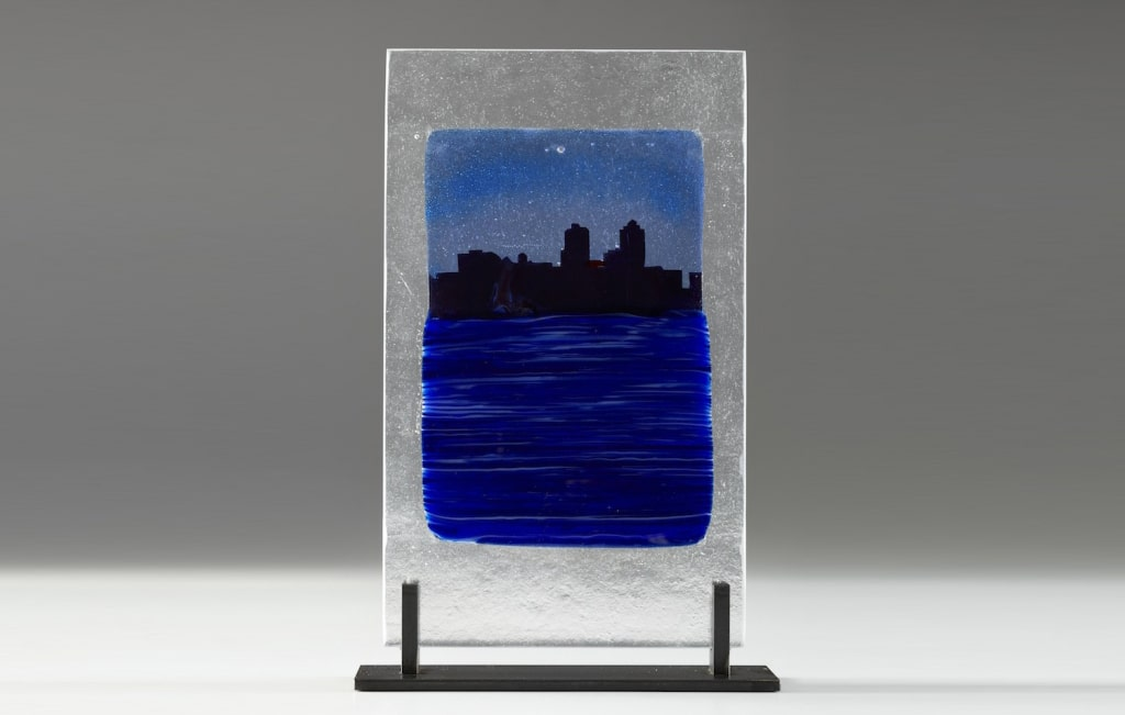 Citiscape in Blue © 2012; Fused Glass; NFS