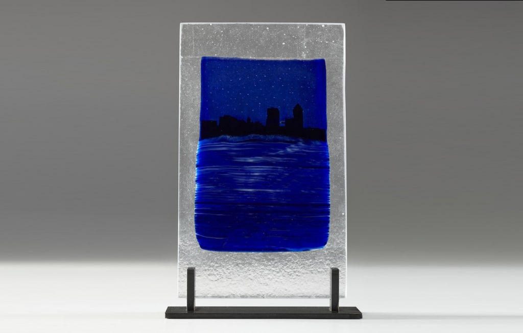 Citiscape in Colbalt © 2012; Fused Glass; NFS