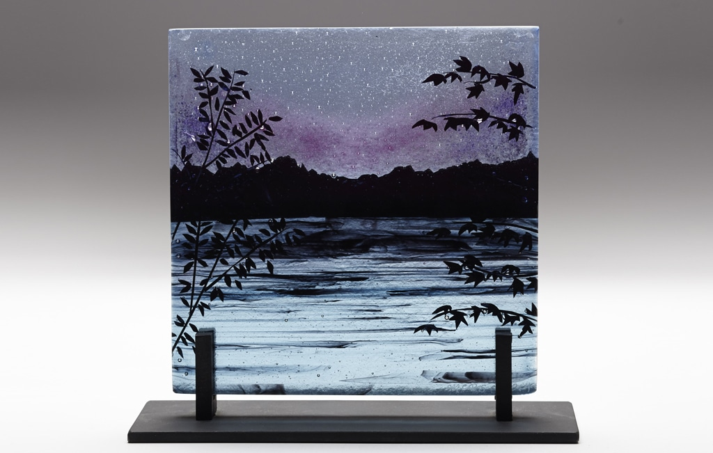 Laird Lake at Twilight © 2014; Fused Glass