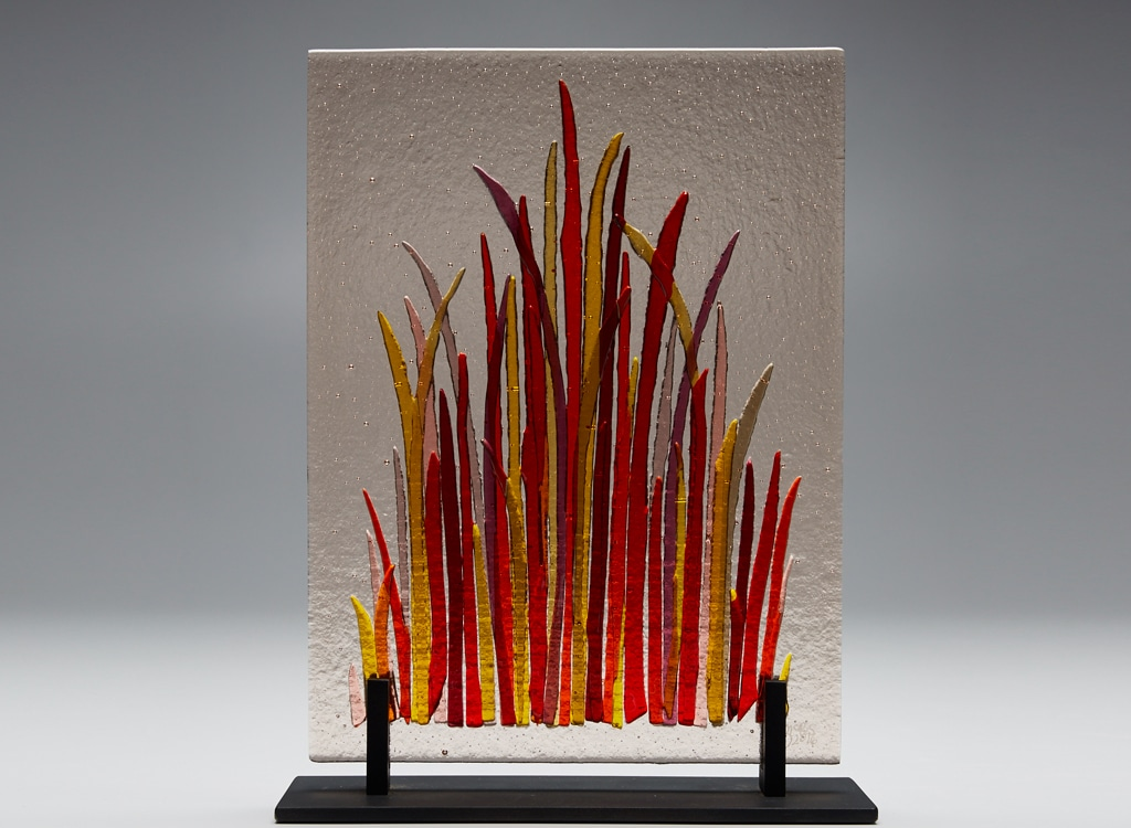 "Fall Grass © 2016; Fused Glass on Light Box in Wood Frame 10"" X 14"" X 2"""