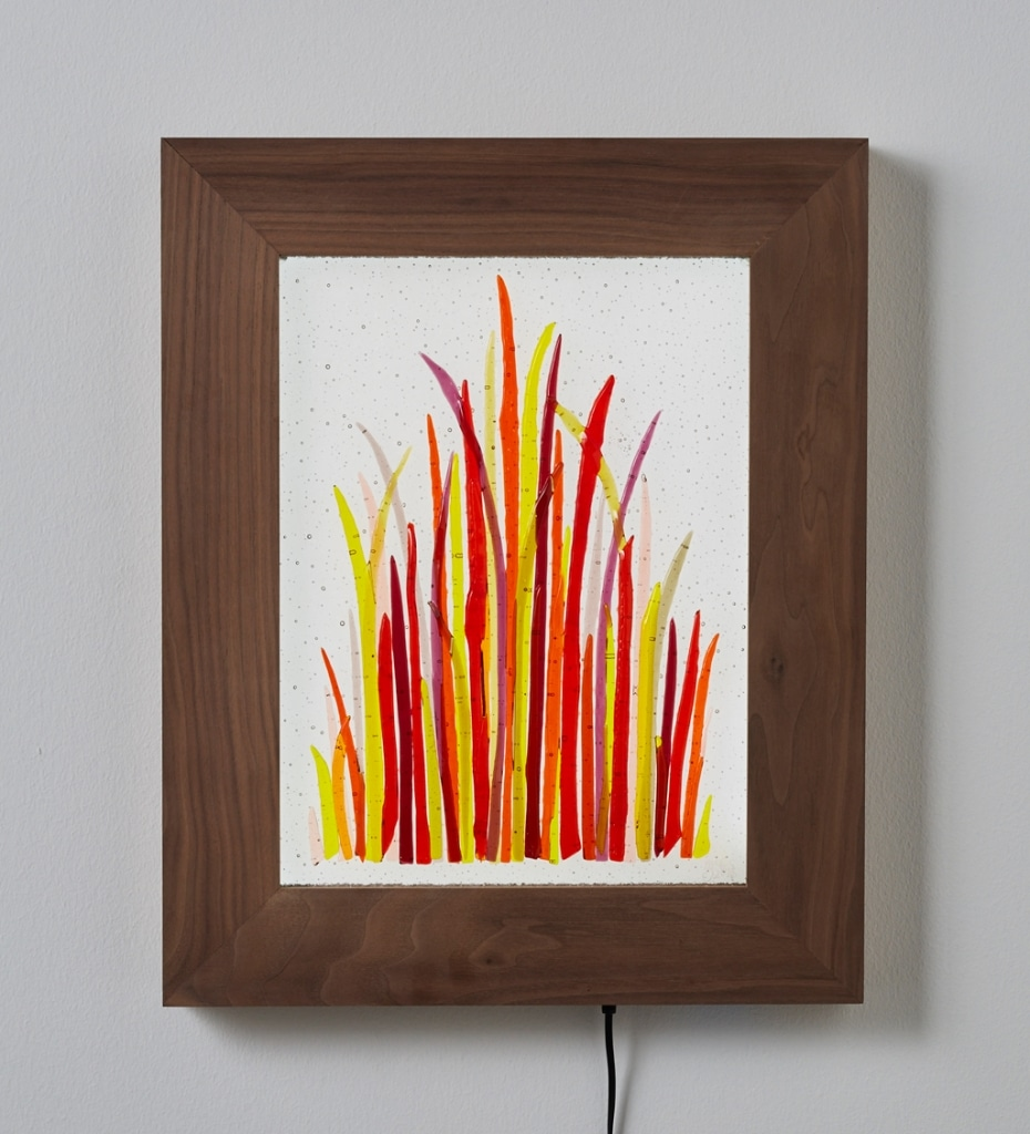 "Four Seasons Trial © 2016; Fused Glass on Wood 19"" X 8"" X 2"""