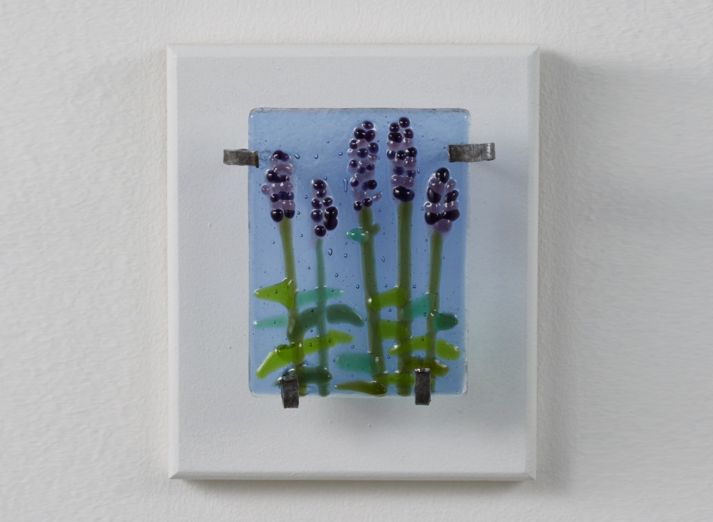 "Lavender Trial © 2016; Fused Glass on Wood 5 ½"" X 6 ½"" X 2"""