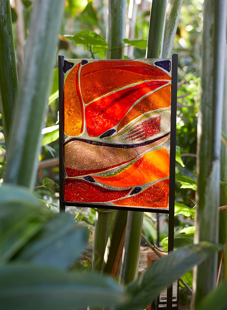 Heliconia Abstract; Fused Glass